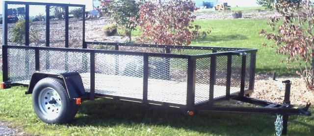 5' x 8' Commercial Utility A Frame Trailer with 2,990 GVW, Wood Floor, & Wire Mesh Sides